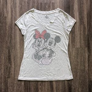 DISNEY PARKS Mickey Minnie Rhinestone Tee Womens S